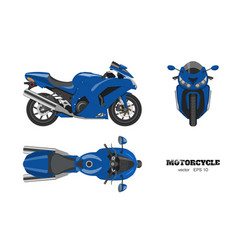 Blue motorcycle in realistic style vector