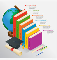 books step education timeline isometric knowledge vector image