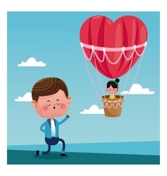 Boy propossal girl flying heart airballoon vector