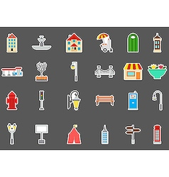 City elements stickers set vector