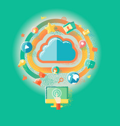 cloud technologies and internet vector image vector image