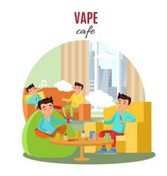 Colorful vape cafe concept vector