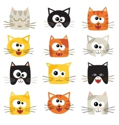 cute cartoon cats isolated on white Icons vector image
