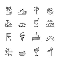 desert icon set cupcake sweets and other vector image vector image