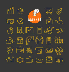 different marketing icons collection web and vector image vector image
