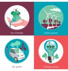 Ecology Concept 4 Flat Icons Banner vector image