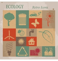 Ecology flat retro icons vector image