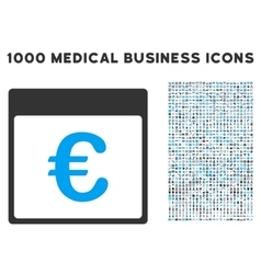 Euro currency calendar page icon with 1000 medical vector