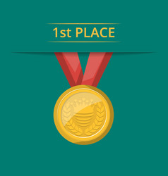 first place golden medal with red ribbon vector image vector image