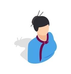 Girl in korean costume icon isometric 3d style vector