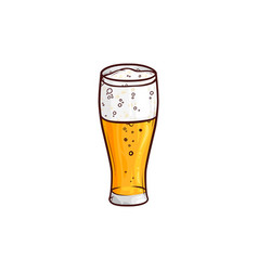 hand-drawn glass of light beer lager ale cider vector image vector image
