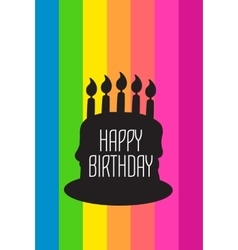 Happy birthday card with black cake vector image vector image