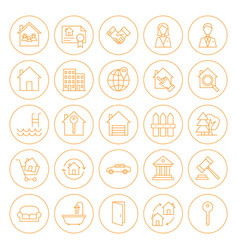 line circle house icons vector image