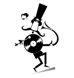 Mustached man and vintage record player vector image