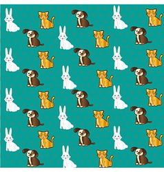 pets pattern with cat bunny and dog labels vector image