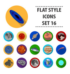 Planets set icons in flat style big collection of vector