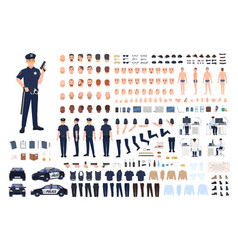 policeman creation set or diy kit collection of vector image vector image