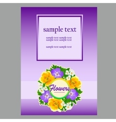 Poster for text in floral style light purple vector