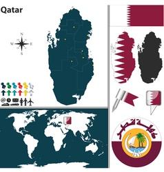 Qatar map world vector