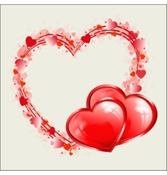 Red heart design as frame vector