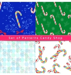 Seamless patterns with candy cane vector image vector image