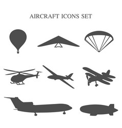 set of airplanes vector image