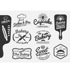 Set of bakery and bread logo labels design vector image vector image