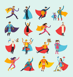 superheroes orthogonal flat people set vector image vector image