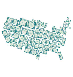 The united states made out of one dollar bills vector