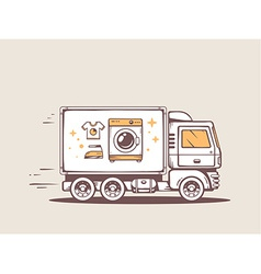 Truck free and fast delivering washing ma vector