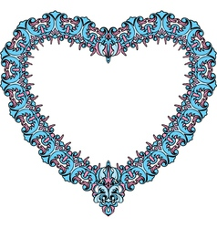 vintage ornamental heart shape Valentines Day card vector image vector image