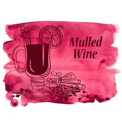 Watercolor background with mulled wine vector