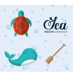 Whale and tortoise icon sea animal cartoon vector