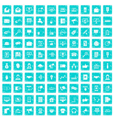 100 help desk icons set grunge blue vector image vector image