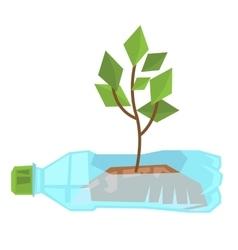 Stem growing in used plastic bottle vector
