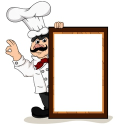 Chef with menu board vector image