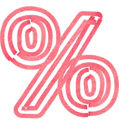 Abstract percent symbol made with red marker vector