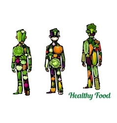 Healthy food human body icons vector