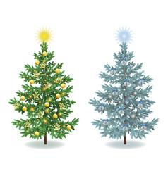 Christmas spruce fir trees with ornaments vector