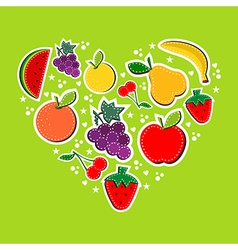 Love eat fruits concept vector