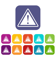 Warning attention sign with exclamation mark icons vector