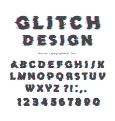 Glitch font design isolated on white abc letters vector