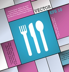 Fork knife spoon icon sign modern flat style for vector