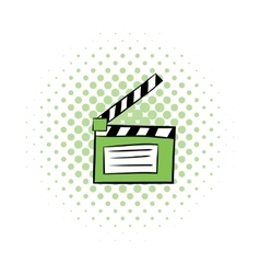 Movie clapper comics icon vector