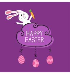 Rabbit hare bunny carrot happy easter cloud frame vector