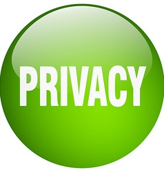 Privacy green round gel isolated push button vector