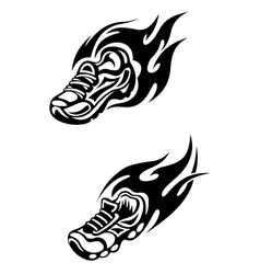 Trainers with tribal flames vector