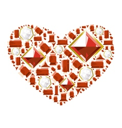 Heart of gems vector