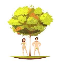 Adam eve under apple tree cartoon vector