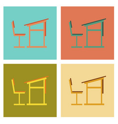 Assembly flat icons school desk chair vector
